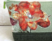 Green Floral Lace Zip Pouch, Eco Friendly, Upcycled Lace and Felted Sweater Wool Clutch