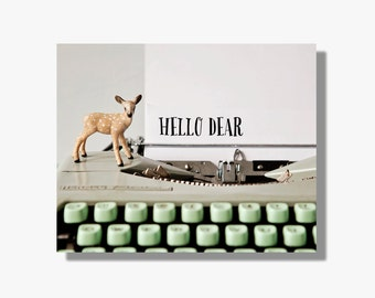 Quirky typography canvas gallery wrap, mint green, deer, vintage typewriter art, sweet message, deer canvas art - Hello Dear