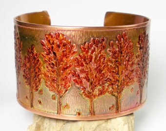 Etched Copper Bracelet, Rustic Copper Cuff, Womens Jewelry, Hand-Drawn Etched Design, Metalwork, Hammered. Aspens, Heat Patina- Color Change