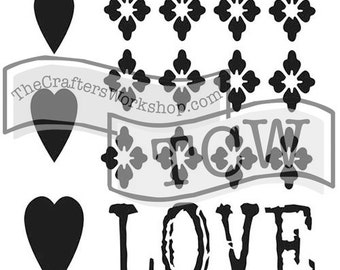 Love Remnant 4x4 Crafters Workshop Stencil (2086) cookies, cardmaking, mixed media, paper-arts, chalking, scrapbooks