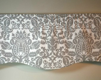 Window Valance/Curtain Valance/Window Topper/Kitchen/Bedroom/Bath/Straight/Curved-LINED-Valance, Gray White Amsterdam Fabric Choose Size
