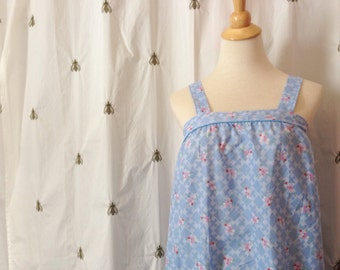 Vintage Summer Sun Dress, Blue, Pink and White Floral Print, Size Medium, Large, Boho, New With Tags, NWT