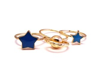 Orbit Midi Pinky Ring Stack Set,Witch,Boho,Gift,Goth,Grunge,Tiny