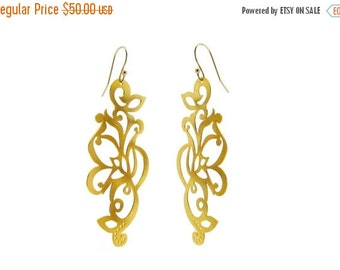MEMORIAL SALE Large Gold Dangle Earrings in Filigree Tattoo Design 14K Gold Plated