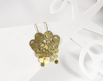 Gold Circle Earrings,  Geometric Earrings, Gold Dangle Earrings, Modern Architectural Jewelry, Circle Earrings, Statement Earrings