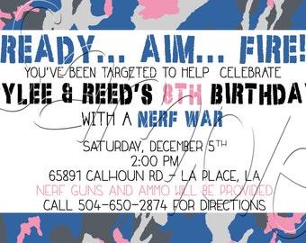 Custom Printable Boy/Girl Camo Dart Gun Birthday Invitation