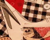 Gingham and Sewing Print Fabric - 1 yard - Remnant / Sale Fabric / Sale Fabric / Sewing / Sewing Print / Fabric Traditions