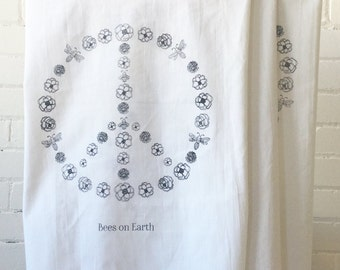 BEES ON EARTH Flour Sack Style Tea Towel Bees on Earth Peace Theme