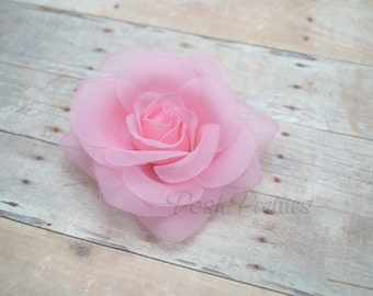 Pink Rose Hair Clip Pink Sheer Flower Clippie