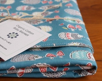 Organic Baby Blanket in HEDGIES; Blue Hedgehog Baby Blanket, Woodland Baby Blanket Gift, Organic Blanket by Organic Quilt Company