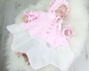 CROCHET PATTERN For Ripple Baby Dress, Jacket & Bonnet  PDF 30 Digital Download