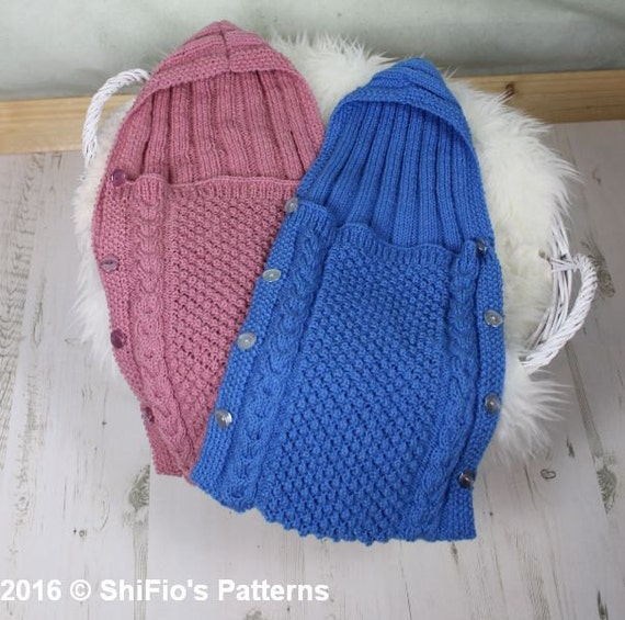 Knitting Pattern Sleeping Bag : KNITTING PATTERN For Baby Sleeping Bag Cocoon Papoose