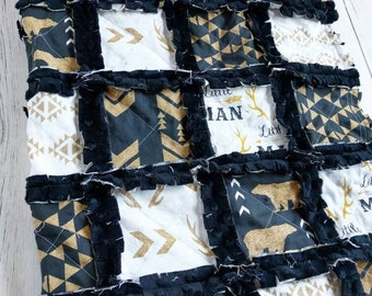 Black and Gold Baby Bedding - Black and Gold Quilt - Black and Gold Blanket - Deer Bedding - Deer Quilt - Deer Blanket - Aztec Bedding