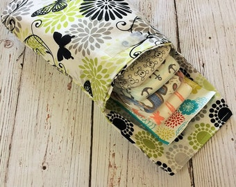 Lime/Black Butterflies Diaper Clutch