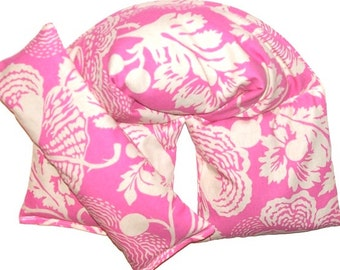 Hot Cold Therapy Wrap and Eye Pillow Heating Pad, Amy Butler Pink Floral - Flaxseed Rice Mix - UNSCENTED OR SCENT