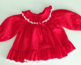 Vintage 80s Red Lacy Baby Dress - 6 to 9 months