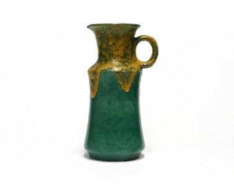 Vintage Lava Pitcher vase, Ü-Keramik, Uebelacker, West Germany ceramics, Green Lava Vase, German pottery, Mid Century art pottery, 25 cm