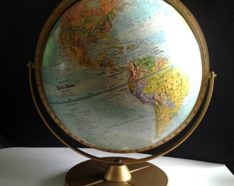 "1960's Replogle Fleur de Lis World Nation Globe 12""  Full Meridian Double Dual Axis Raised Relief Contour"