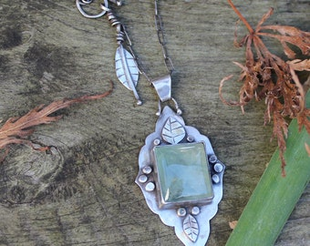 Moroccan prehnite sterling silver necklace - moss green, celery green, gemstone, one-of-a-kind (OOAK), statement, wearthou