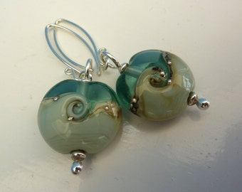 Harmony Twist Earrings .. handmade glass and sterling silver .. UK SRA