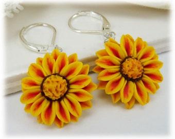 Red and Yellow Gazania Dangle Earrings - Red Stripe Gazania Jewelry Collection