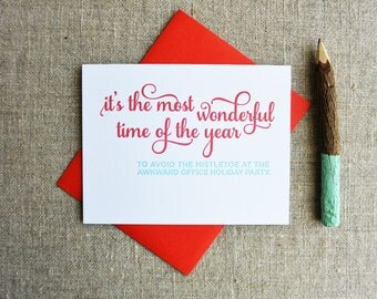 Letterpress Holiday Card - Awkward Office Party - NQH-168