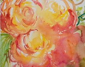 Everlasting, original watercolour painting of roses by Angela Fehr