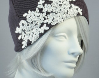 Knit Beanie Skull Cap Charcoal Cotton Knit Hat With Lace Applique