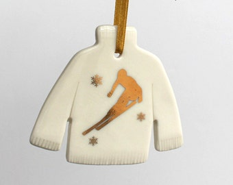 Porcelain jumper decoration, gold skier and snowflake sweater Christmas ornament