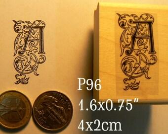 P96 Letter A, vintage monogram rubber stamp