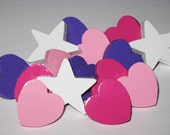 Assorted hearts and star push pins