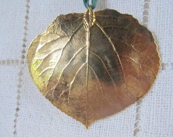 Gold Dipped Aspen Leaf, Ornament, Pendant