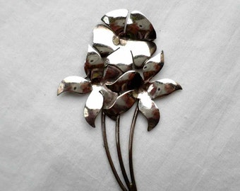 Vintage Mid Century Sterling Silver Three Flower Blossom Pin or Brooch / Signed TM-179