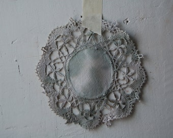 naturally hand dyed tiny vintage table doily