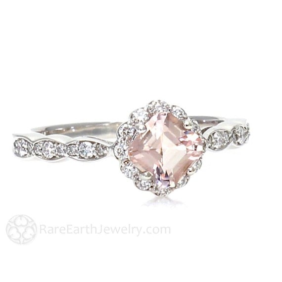 Morganite Ring Asscher Morganite Engagement Ring Diamond Halo Unique Engagement Pink Gemstone Ring