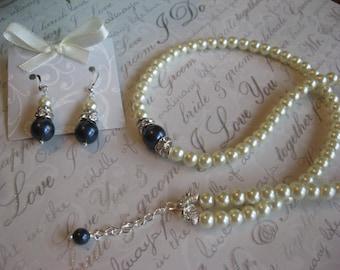 Swarovski Navy Night Blue Pearl and Rhinestone Necklace and Earring Set -  /Wedding Jewelry/Bridesmaid Jewelry Set/ Bridal Jewelry Set