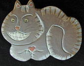 Ceramic Cheshire Grinning  Cat wall hanging for home or garden