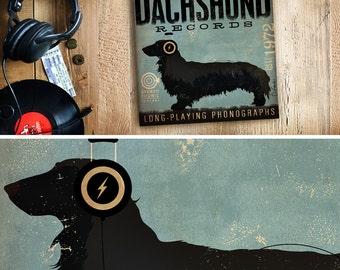 DACHSHUND dog longhaired records album style artwork on gallery wrapped canvas by stephen fowler