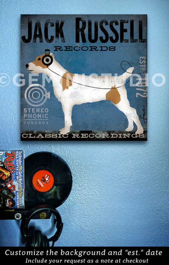 Jack Russell Records dog album artwork illustration vintage style graphic art on gallery wrapped canvas by stephen fowler