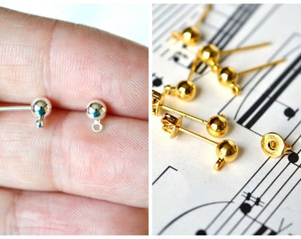 20 Pair 4mm Ball with Loop Post Earrings Silver or Gold Plated Brass With Matching Earnuts Stud Earring Findings