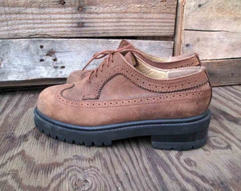 90s Wingtip brogue vintage Brown Leather chunky 90s Brown grunge Oxford shoes 8