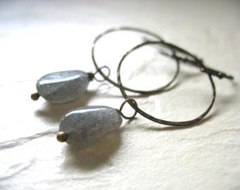 Labradorite Earrings, Labradorite Hammered Antiqued Brass Hoop Dangle Drop Earrings, Labradorite Jewelry, Hoop earrings, Labradorite