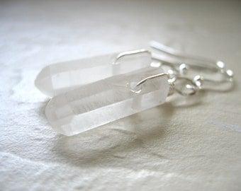 Quartz Crystal Point Earrings, Handmade Artisan Gemstone Dangle Drop Earrings, Gemstone Earrings, Dangle Drop Earrings, Stone Jewelry