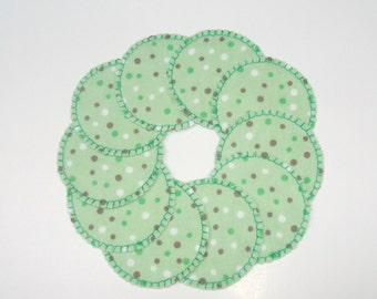 Reusable Cotton Rounds Green Polka Dot Make-up Remover Pads Washable