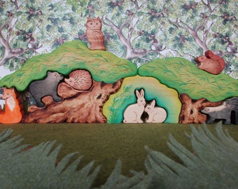 RESERVED for Jen Huang  - Waldorf toys, Large Forest Tree set with hiding hill, 11 Pc Puzzle Set Eco-friendly Gift Oddity