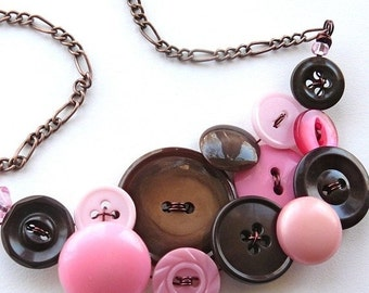 ON SALE Vintage Button Jewelry Pink and Brown Large Statement Necklace
