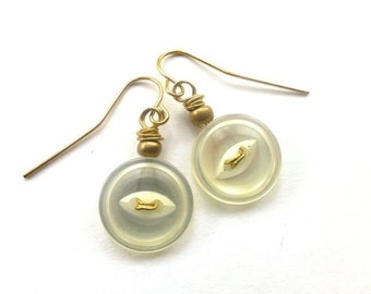 Gift Sale White Button Earrings with Gold Tone - Shabby Chic