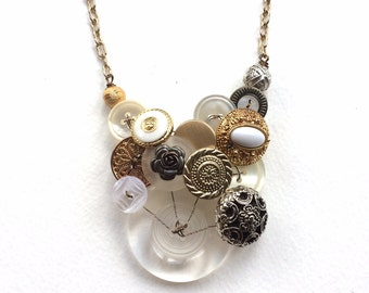 Big Statement Necklace with white and mixed metal vintage buttons