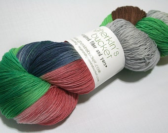 Hand Dyed Artisan Yarn, Hand Painted Heavy Lace Yarn, Multicolor SW Merino Yarn, Long Stride (750yds) - Clover-Wrapped Heart (dyelot 22616)
