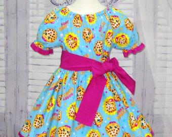 SALE Shopkins Inspired Dress, Girl Blue Dress, Yellow Girl Dress, Toddler Dress, Girl Tea Party Dress, Infant Blue Dress, Birthday Girl